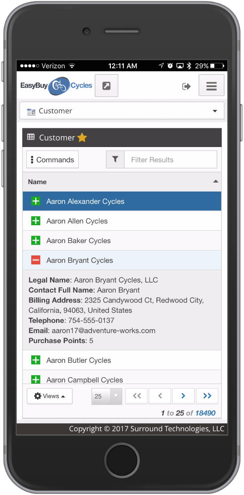 EasyBuy Cycles Web App Demo on a mobile
