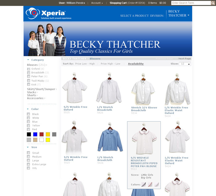 On-line catalog product search allows customers to find and add products to their shopping cart.