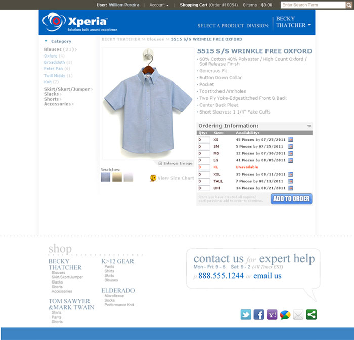 On-line catalog product screen allows customers to select quantities for the various size and color products they wish to order.
