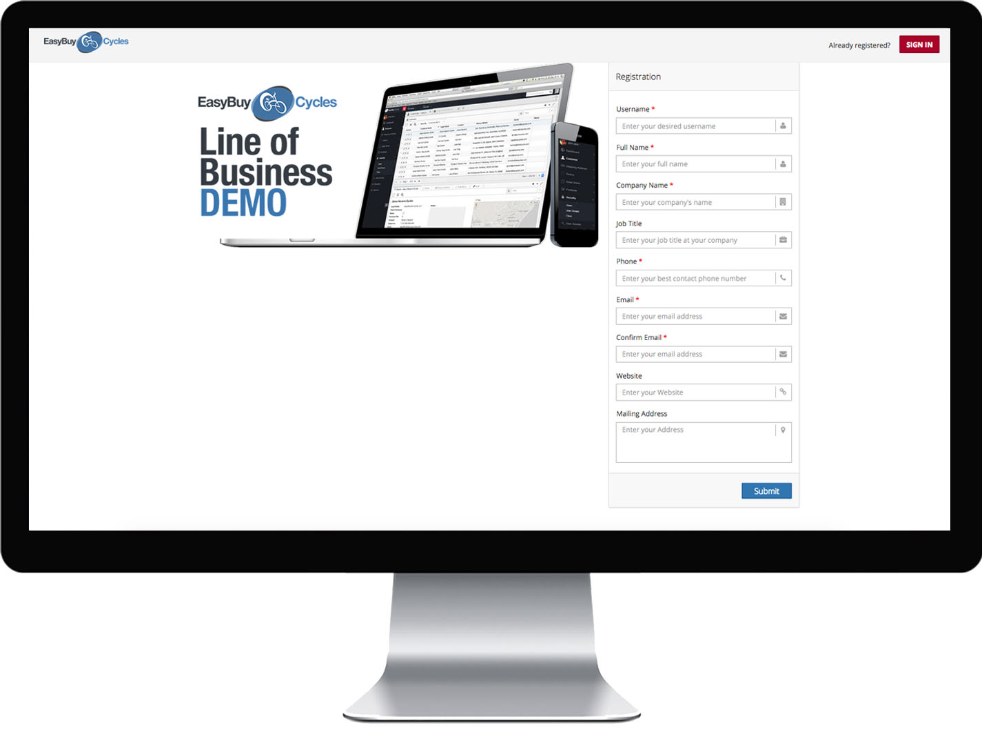 Screenshot of default out-of-the-box website portal registration.