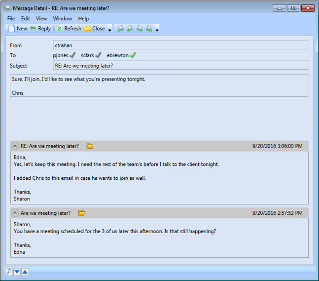 Messages Module – Message thread can be seen within the message itself